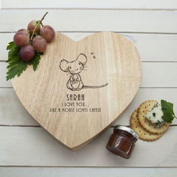 Like A Mouse Loves Cheese' Romantic Heart Cheese Board